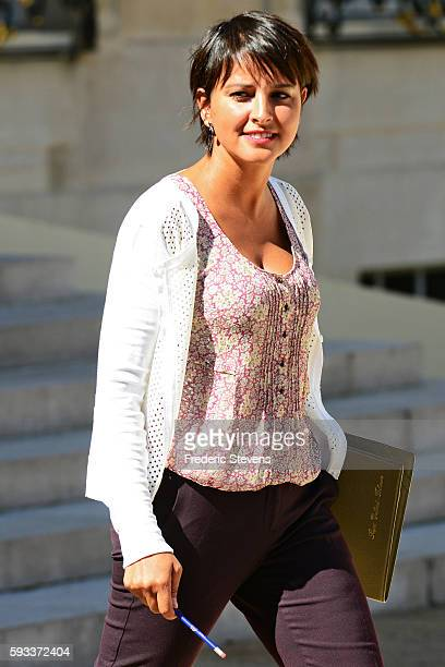 French Education minister Najat VallaudBelkacem leaves the Elysee Presidential Palace on August 22 2016 in Paris France This is the first weekly...
