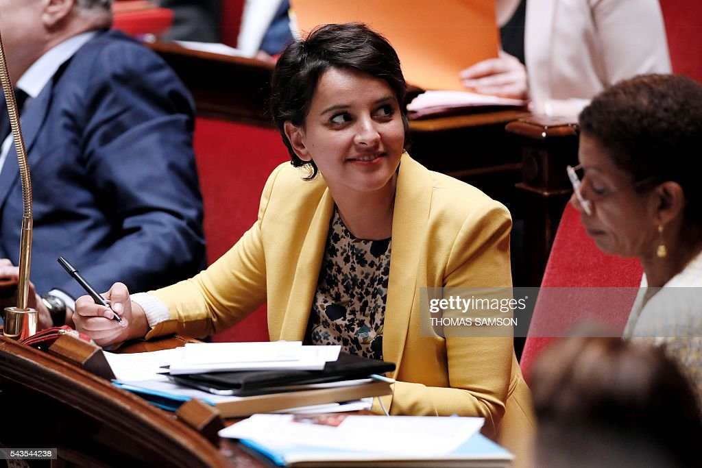 French Education minister Najat Vallaud-Belkacem speaks during the questions to the government session on June 29, 2016 at the French National Asssembly in Paris. / AFP / Thomas SAMSON