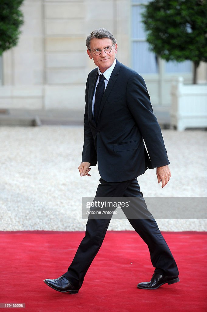 French Education Minister <a gi-track='captionPersonalityLinkClicked' href=/galleries/search?phrase=Vincent+Peillon&family=editorial&specificpeople=2150233 ng-click='$event.stopPropagation()'>Vincent Peillon</a> arrives at the Elysee Palace for a state dinner on September 3, 2013 in Paris, France. The German President is in France for a 3 day state visit.