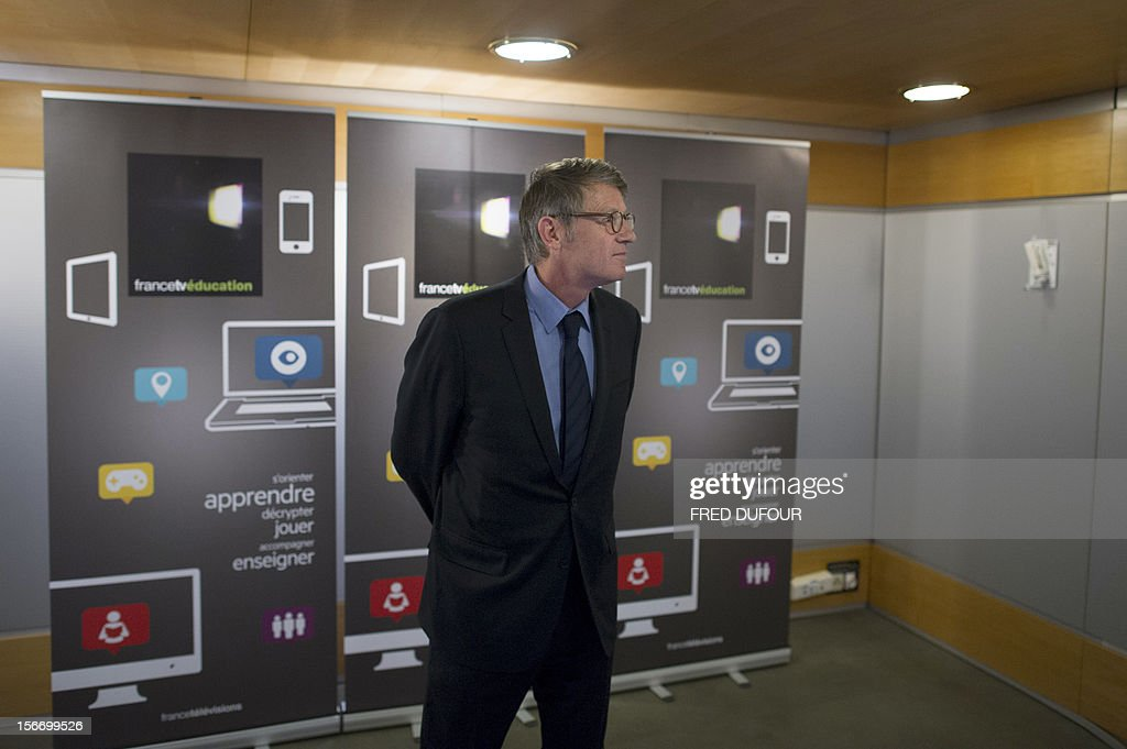 French Education Minister Vincent Peillon poses after a press conference to launch the group's new website 'francetveducation,' on November 19, 2012 at France Télévision headquarters in Paris.