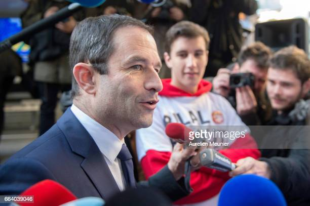 French election Socialist Candidate Benoit Hamon meets his drivers as he present to the press the launch of his Universal income caravan on April 3...