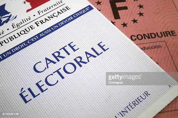 French electoral voting card and driver's license