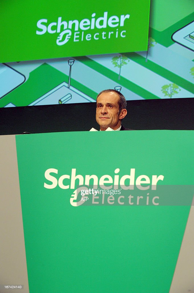 French electrical engineering giant Schneider Electric President and CEO Jean-Pascal Tricoire arrives to attend the group's shareholders meeting in Paris La Defense on April 25, 2013.