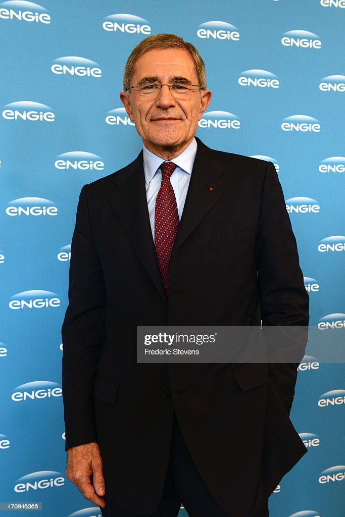 French electricity and gas company GDF Suez chief executive, <a gi-track='captionPersonalityLinkClicked' href=/galleries/search?phrase=Gerard+Mestrallet&family=editorial&specificpeople=585719 ng-click='$event.stopPropagation()'>Gerard Mestrallet</a> posed after a press conference for the launch of GDF Suez' new name and new logo at the company's headquarters of La Defense business district in Courbevoie on April 24, 2015 in Paris, France. French electricity and gas company GDF Suez announced it was changing its name to Engie.