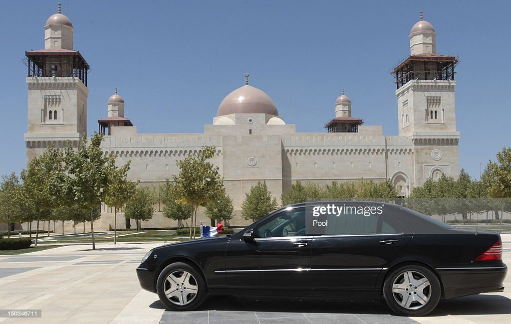 A French embassy car transports French Foreign Minister Laurent Fabius after his meeting with Jordan's King Abdullah II at the royal palace on August 16, 2012 in Amman, Jordan. Before the meeting, Fabius visited the UN-run Zaatari Syrian refugee camp, outside the Jordanian northern city of Mafraq.