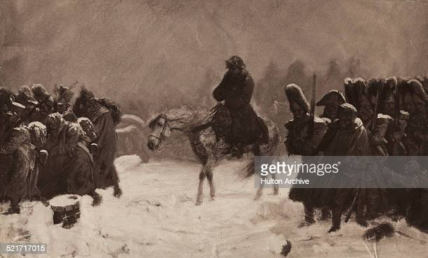 French Emperor Napoleon Bonaparte and the Grande Armee flee the pursuing Russian army on the retreat from Moscow during the Napoleonic War of the...