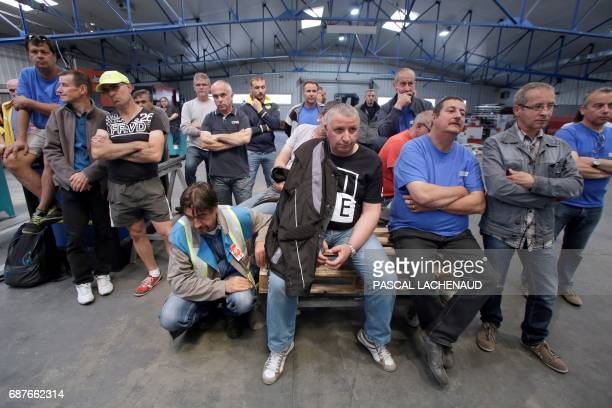 French employees of GMS car supplier attend a general assembly on May 24 2017 at their plant in La Souterraine a day after an hearing at the Poitiers...