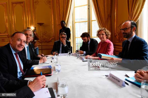 French employer federation Medef head Pierre Gattaz attends a meeting with French Prime Minister Edouard Philippe and French Minister of Labour...