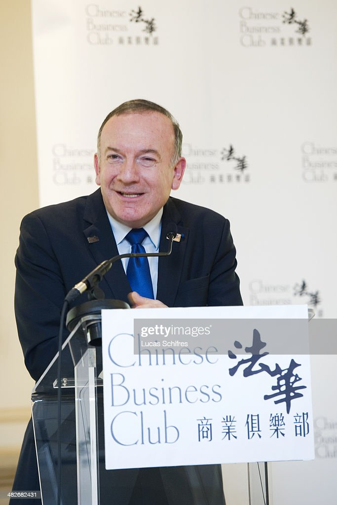 French employers association MEDEF head Pierre Gattaz speaks at a luncheon hosted by the Chinese Business Club on February 25 in Paris France...