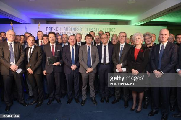 French Employers Association Medef's President Pierre Gattaz French Minister for the Ecological and Inclusive Transition Nicolas Hulot President of...