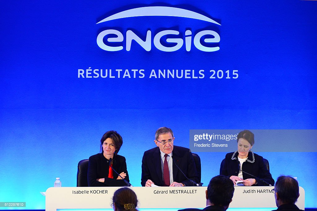 French energy giant Engie, Deputy Chief Executive Officer, Isabelle Kocher (L) Chief Executive Officer, <a gi-track='captionPersonalityLinkClicked' href=/galleries/search?phrase=Gerard+Mestrallet&family=editorial&specificpeople=585719 ng-click='$event.stopPropagation()'>Gerard Mestrallet</a> (C) and Chief Financial Officer, Judith Hartmann (R) speak during the press conference or the group's 2015 results presentation at Engie headquarters in La Defense business districton February 25, 2016 in Paris, France.