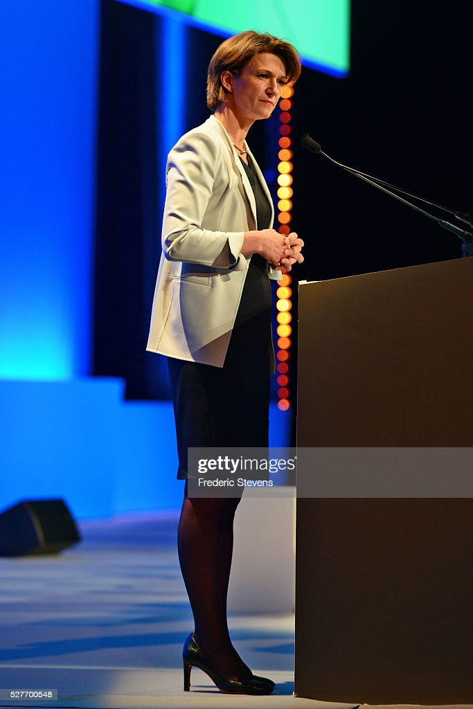 French energy giant ENGIE's new chief executive officer Isabelle Kocher addresses a general assembly of the group on May 3, 2016 in Paris, France. Isabelle Kocher has become the the first woman to lead a CAC 40 company.