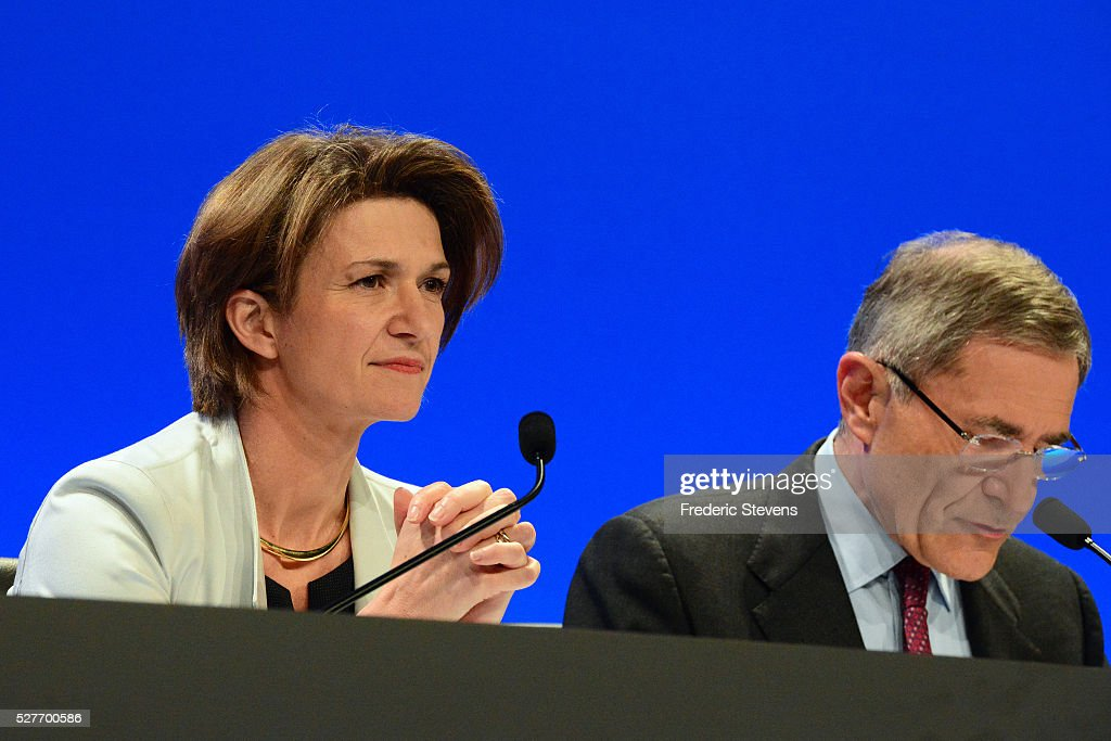 French energy giant ENGIE's new chief executive officer Isabelle Kocher (L) and <a gi-track='captionPersonalityLinkClicked' href=/galleries/search?phrase=Gerard+Mestrallet&family=editorial&specificpeople=585719 ng-click='$event.stopPropagation()'>Gerard Mestrallet</a>, former CEO who remains chairperson, during a general assembly of the group on May 3, 2016 in Paris, France. Isabelle Kocher has become the the first woman to lead a CAC 40 company.