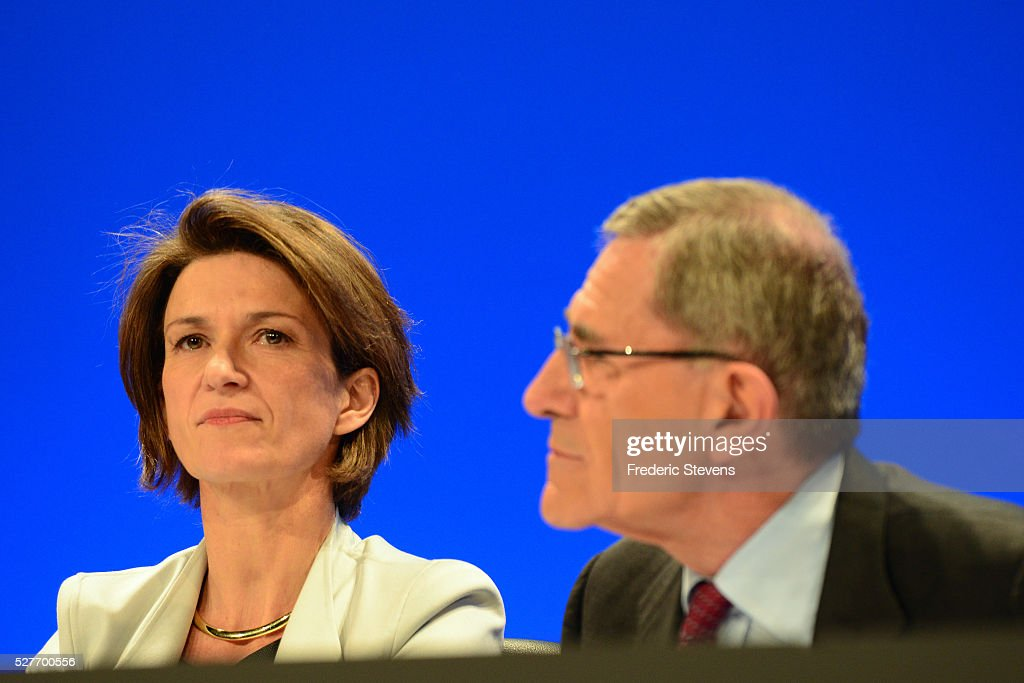 French energy giant ENGIE's new chief executive officer Isabelle Kocher (L) speaks to <a gi-track='captionPersonalityLinkClicked' href=/galleries/search?phrase=Gerard+Mestrallet&family=editorial&specificpeople=585719 ng-click='$event.stopPropagation()'>Gerard Mestrallet</a>, former CEO who remains chairperson, during a general assembly of the group on May 3, 2016 in Paris, France. Isabelle Kocher has become the the first woman to lead a CAC 40 company.