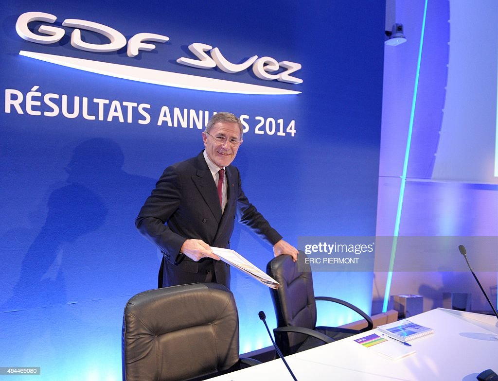 French energy group GDF Suez Chairman and CEO <a gi-track='captionPersonalityLinkClicked' href=/galleries/search?phrase=Gerard+Mestrallet&family=editorial&specificpeople=585719 ng-click='$event.stopPropagation()'>Gerard Mestrallet</a> arrives for the presentation of the GDF SUEZ groups results at GDF Suez headquarters in La Defense business district on February 26, 2015. GDF Suez bounced back in 2014 after major losses the previous year, results showed on Thursday, but the energy group announced fresh cutbacks in response to falling energy prices. The French-Belgian electricity and gas company published annual net profits of 2.44 billion euros ($2.77 billion).