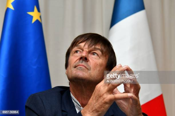 French Environment Minister Nicolas Hulot attends a press conference at the end of a G7 summit on the environment in Bologna on June 12 2017 / AFP...