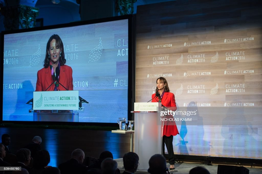 French Environment Minister Segolene Royal addresses the opening session of the Climate Action 2016 conference in Washington, DC, on May 5, 2016. / AFP / NICHOLAS