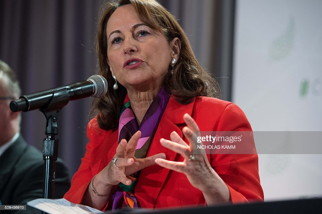 French Environment Minister Segolene Royal speaks at a press conference at the Climate Action 2016 conference in Washington, DC, on May 5, 2016. / AFP / NICHOLAS