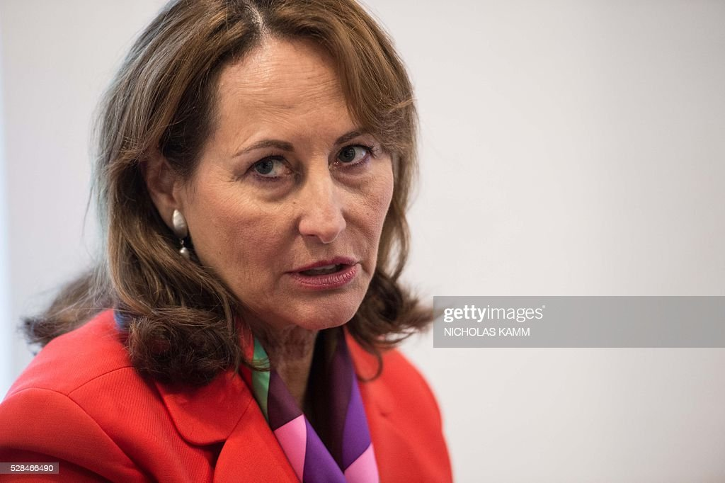 French Environment Minister Segolene Royal speaks to AFP on the sidelines of the Climate Action 2016 conference in Washington, DC, on May 5, 2016. / AFP / Nicholas Kamm