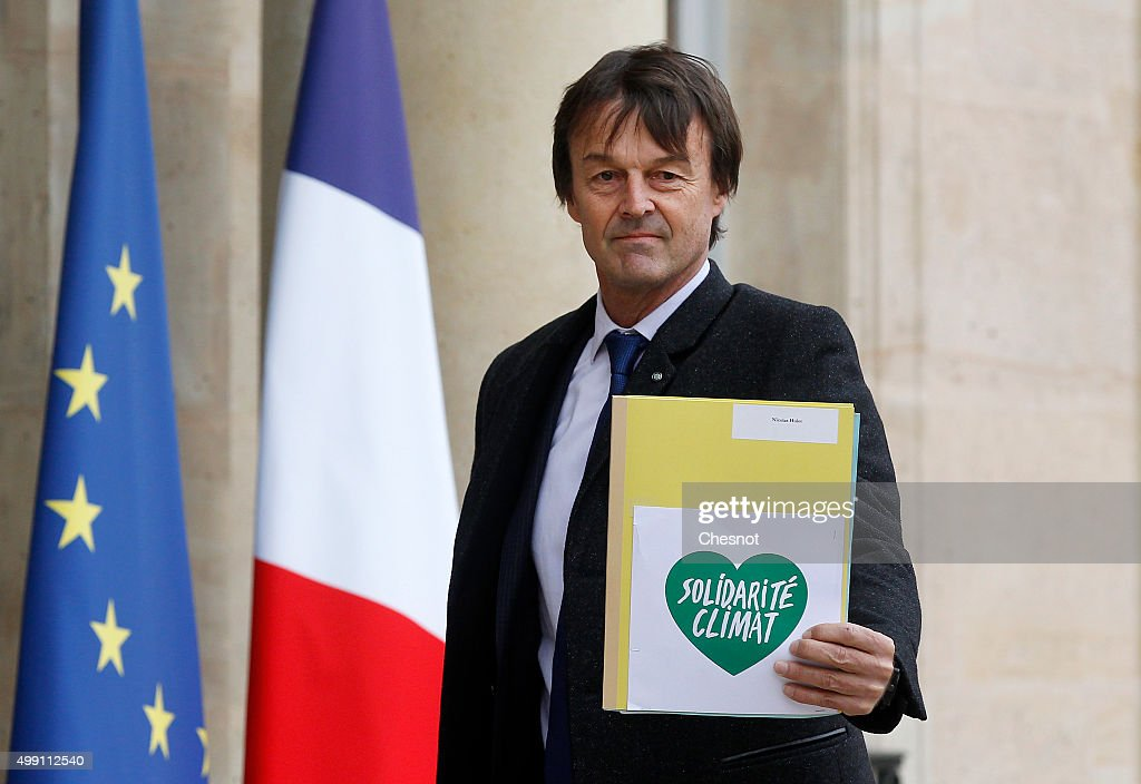 French environmental activist <a gi-track='captionPersonalityLinkClicked' href=/galleries/search?phrase=Nicolas+Hulot&family=editorial&specificpeople=2372364 ng-click='$event.stopPropagation()'>Nicolas Hulot</a> arrives to attend a meeting with French President Francois Hollande at the Elysee Presidential Palace on November 29, 2015 in Paris, France. France will host climate change conference COP21 in Paris from November 30 to December 11, 2015.