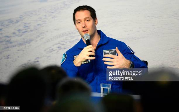 French ESA astronaut Thomas Pesquet attends a press conference in Cologne western Germany on June 6 after his arrival in Germany at the ESA training...