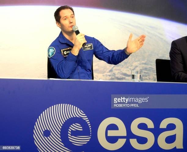 French ESA astronaut Thomas Pesquet speaks during a press conference on June 6 three days aafter his arrival in Germany at the the ESA training camp...