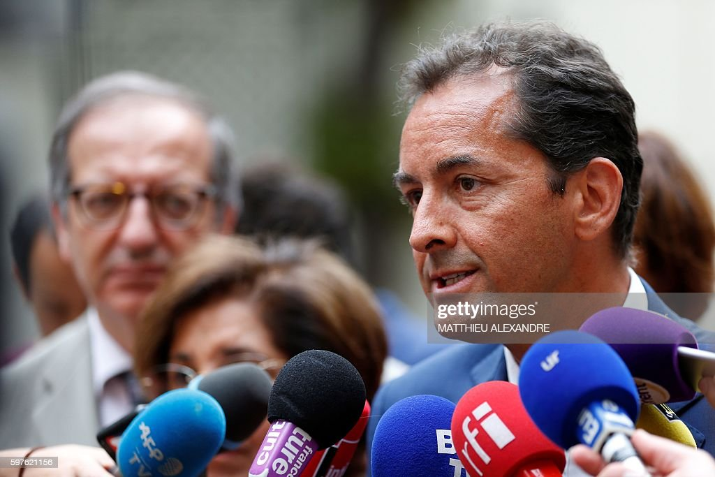 French essayist Hakim El Karoui speaks to journalists following a meeting with French Interior Minister and Islam representatives at the Interior...