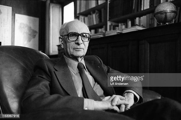 French ethnologist and anthropologist Claude Levi Strauss poses during a portrait session held on October 5 1979 in Paris France