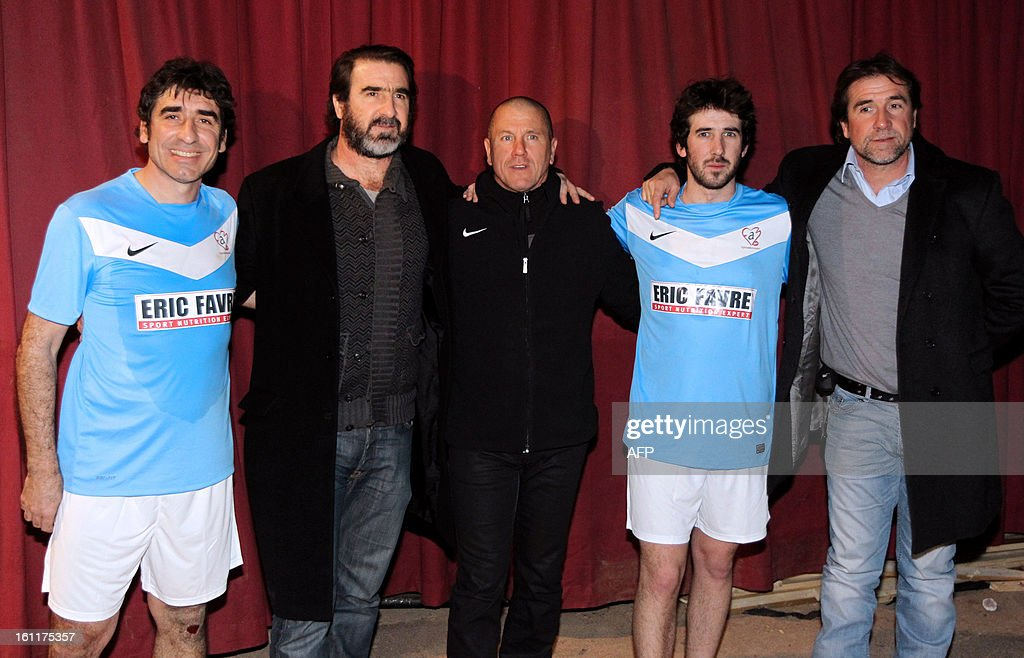 French ex-football players Joel Cantona (L), Eric Cantona (2nd L), and Pascal Olmeta (C), Eric Cantona's son Raphaël Cantona (2nd R), and brother Jean-Marie Cantona (R) pose for photographers during the'Show Beach Soccer, Celebrities' Tournament' on February 9, 2013 in Monaco. The event gathers high-status guests from the worlds of sport and show business in profit for Pascal Olmeta's association 'Un Sourire, Un Espoir pour la Vie' (A Smile, Hope for Life). AFP PHOTO / JEAN CHRISTOPHE MAGNENET