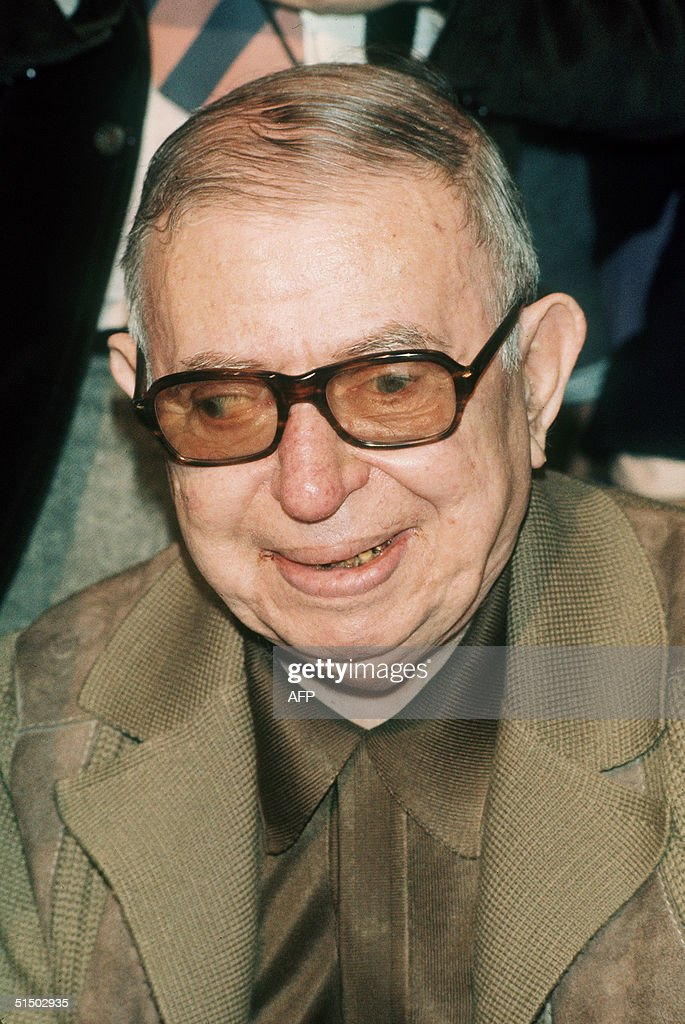French existentialist philosopher and writer Jean-Paul Sartre (1905-80), pictured 21 June 1977 in Paris during a meeting in support of Soviet dissidents. In 1945 he emerged as the leading light of the left-bank intellectual life of Paris.