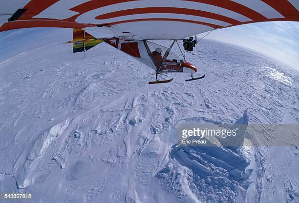 French explorer Hubert de Chevigny and the photographer and journalist Nicolas Hulot during their attempt to reach the North Pole by micro light...