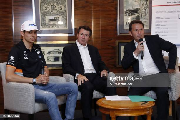 French F1 driver Esteban Ocon the managing director of the public interest group 'Grand Prix de France Le Castellet' Gilles Dufeigneux and Nice's...