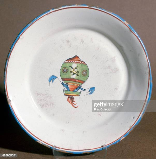 A French faience plate with aeronauts with flags 1785 A popular painted scene was the Charles and Robert balloon 'Globe' This was the world's first...