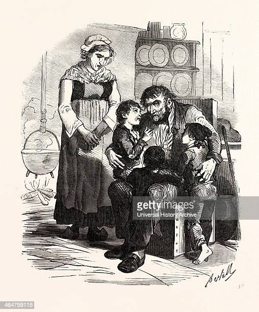 French Family In The Kitchen By Bertall 18201882 Paris Soyons France Interior Kitchen Man Woman Mother Father Children Child Open Fire Cooking Pot...