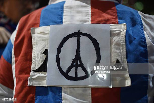 A french fan dressed in the colours of the french flag and adorned with the logo of the Eiffel tower which was used after the Paris attacks arrives...