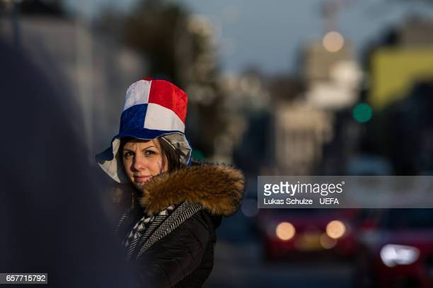 French fan is seen wearing a hat with colours of her country prior to the FIFA 2018 World Cup Qualifier between Luxembourg and France at Stade Josy...