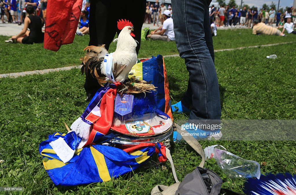 A French fan with a stuffed cockerel on his hat before the UEFA EURO 2016 Round of 16 match between France and Republic of Ireland at Stade des Lumieres on June 26, 2016 in Lyon, France.
