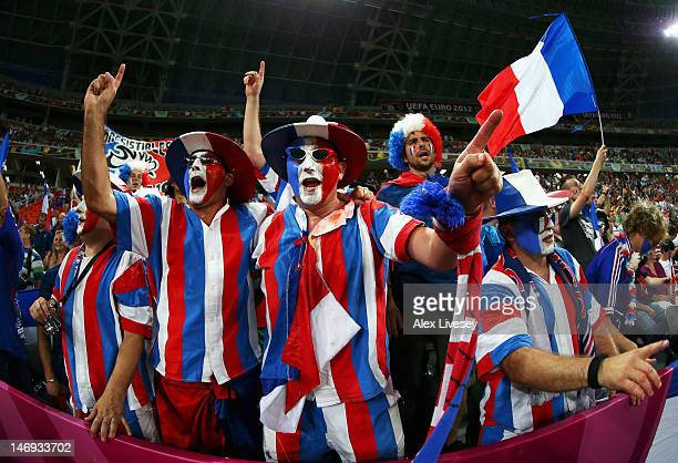 French fans enjoy the atmosphere ahead of the UEFA EURO 2012 quarter final match between Spain and France at Donbass Arena on June 23 2012 in Donetsk...