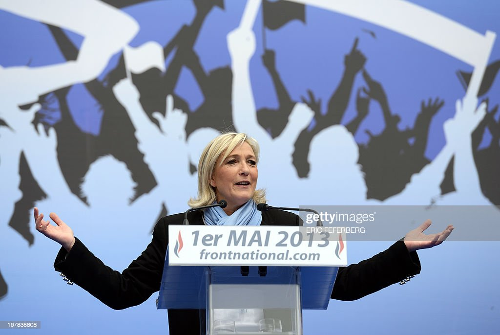 French far right Front National (FN) party president Marine delivers a speech, during the party's annual celebrations of Joan of Arc on May 1, 2013 at Paris' Opera square.
