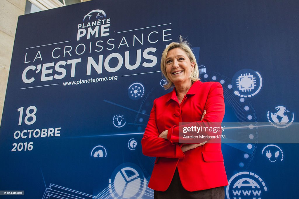 "Marine Le Pen Visits ""Planet PME""  in Paris"