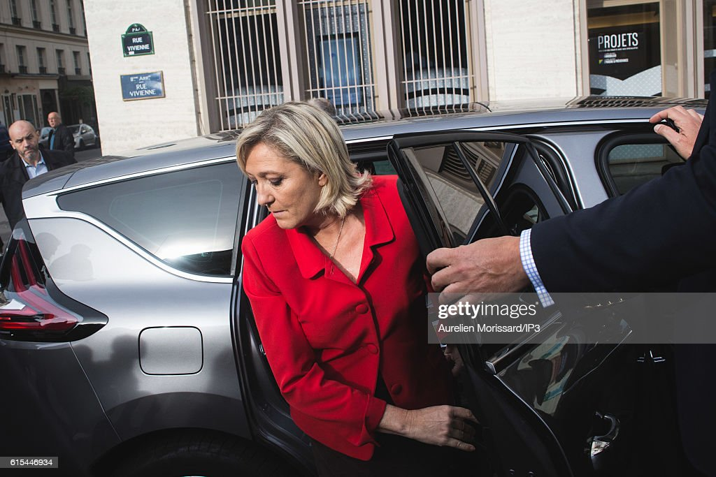 French far right National Front (FN) political party leader Marine Le Pen, member of the European Parliament, and candidate for the 2017 Presidential elections arrives to visit 'Planete PME', the Trade Fair for managers of Small and Medium Enterprises (SMEs) on October 18, 2016 in Paris, France.
