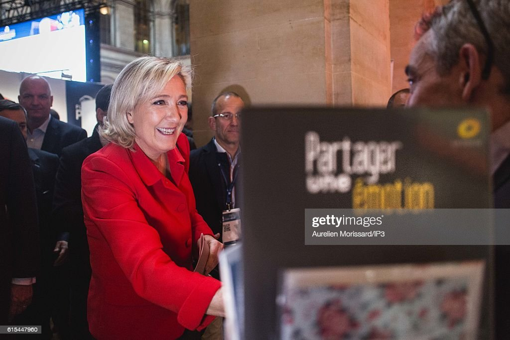 French far right National Front (FN) political party leader Marine Le Pen, member of the European Parliament, and candidate for the 2017 Presidential elections visits 'Planete PME', the Trade Fair for managers of Small and Medium Enterprises (SMEs) on October 18, 2016 in Paris, France.