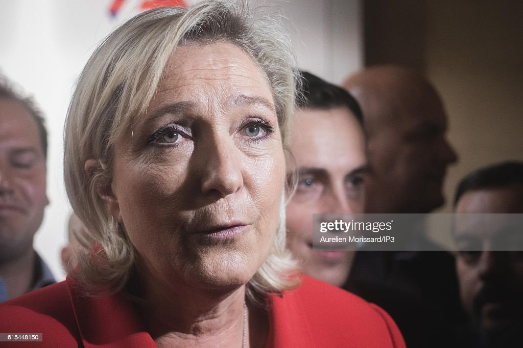 French far right National Front (FN) political party leader Marine Le Pen, member of the European Parliament, and candidate for the 2017 Presidential elections speaks to the medias during her visit of 'Planete PME', the Trade Fair for managers of Small and Medium Enterprises (SMEs) on October 18, 2016 in Paris, France.