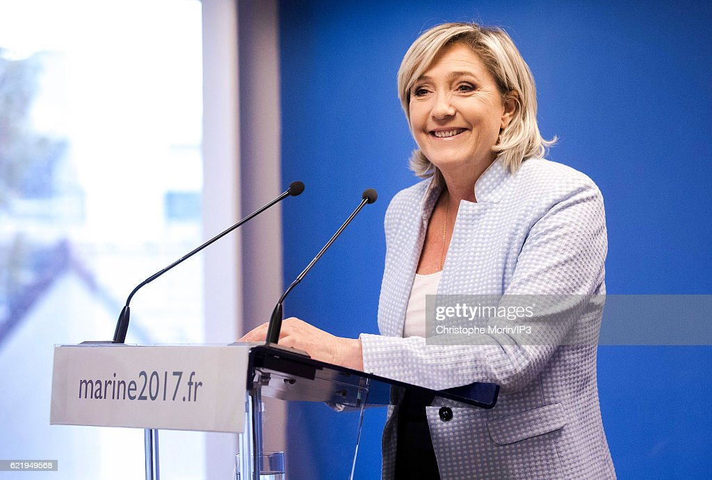French far right National Front (FN) political party leader Marine Le Pen, member of the European Parliament and candidate for the 2017 presidential elections, delivers a speech during a press conference at the party headquarters after Donald Trump defeated Democratic presidential nominee Hillary Clinton to become the 45th president of the United States, on November 9, 2016 in Nanterre, France.