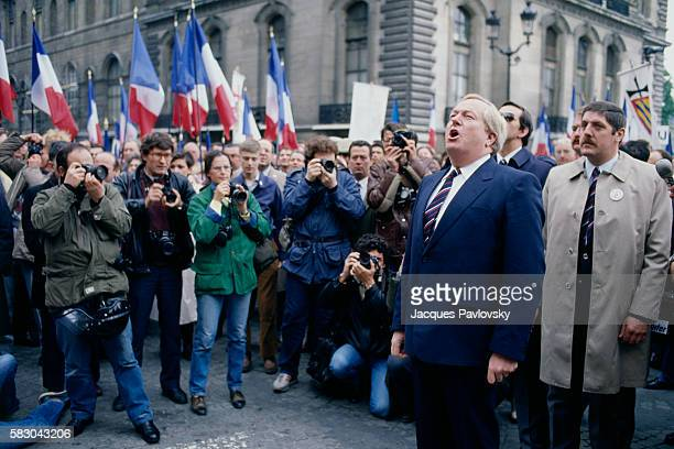 French far rightwing and nationalist politician founder and president of the National Front party JeanMarie Le Pen attends a political rally at the...