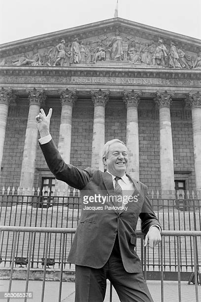 French far rightwing and nationalist politician founder and President of the National Front JeanMarie Le Pen poses in front of the National Assembly...