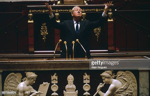 French far rightwing and nationalist politician founder and president of the Front National party JeanMarie Le Pen at the National Assembly
