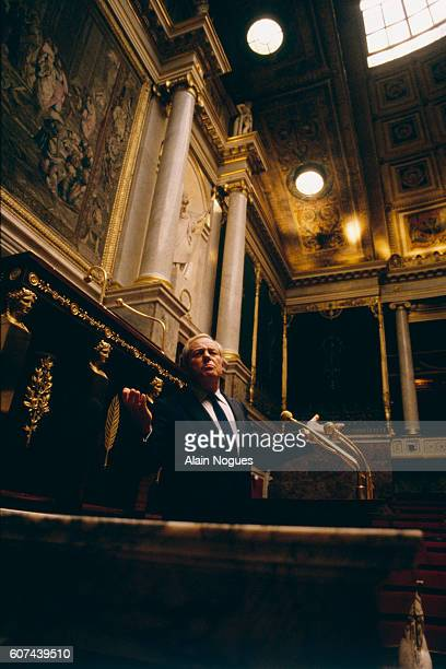 French far rightwing and nationalist politician founder and president of the National Front party JeanMarie Le Pen at the National Assembly