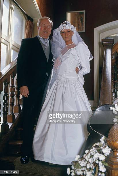 French far rightwing and nationalist politician founder and President of the National Front JeanMarie Le Pen on the day of the wedding of his...
