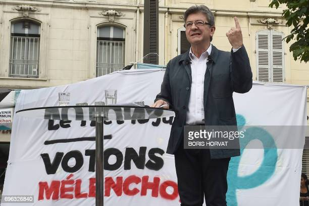 French farleft coalition La France Insoumise leader JeanLuc Melenchon speaks during a public meeting in Marseille southern France on June 15 2017...